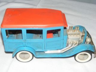 Vintage Buddy L Blue Woody Woodie Wagon Hot Rod Engine Steers as Is 40