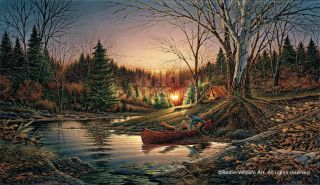 Terry Redlin MORNING SOLITUDE Encore Print Canoe Camping Fishing