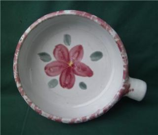 Bybee Pottery Kentucky KY White Pink Flower Casserole Bowl French