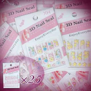 25pcs Styles 3D Design Flower Sheets Decals Stickers for Nail Art