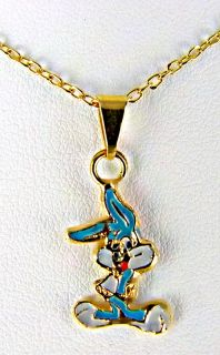 Gold 18K GF Vintage Bugs Bunny Necklace Pendant Girl Baby Kids Charm