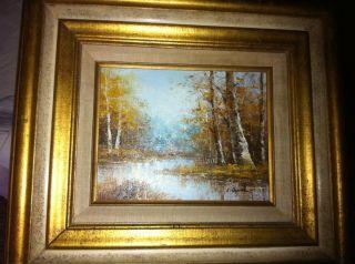Art Original Oil Painting on Board Gilded Frame Signed C Daniel