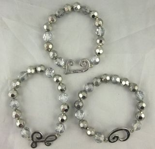 Lot of COOKIE LEE Bracelets Initials Personal C L W Beaded Signed