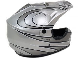 PGR Silver Motocross Dirt Bike Buggy ATV Off Road B MX MX DOT Helmet