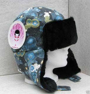 Bula Black Blue Flower s M Ski Snowboard Bomber Hat