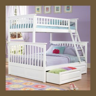 Girls Twin Over Full Bunk Bed White