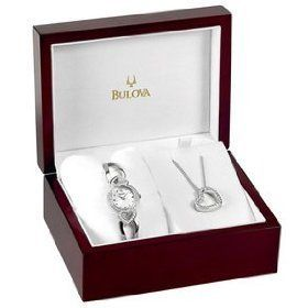 Bulova Crystal Ladies Watch Pendant Set 96x006