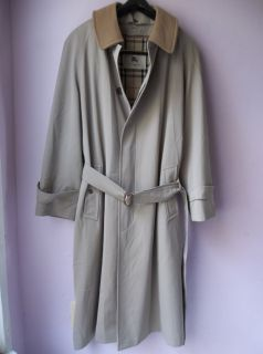 Burberry London Mens Lawrence Belted Beige Lined Trench Coat 42 R USA