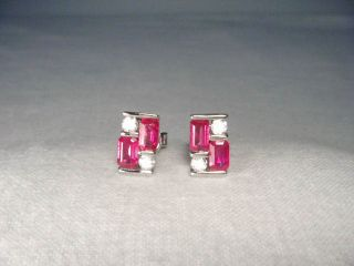 Estate 14k White Gold Diamond Burmese Rubies Ruby Stud Earrings