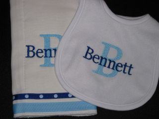 New Personalized Burp Cloth Infant Bib Set Monogrammed Baby Shower