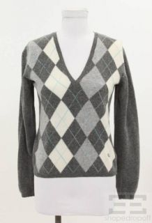 Burberry London Grey Cream Turquoise Argyle Wool Sweater Size Small