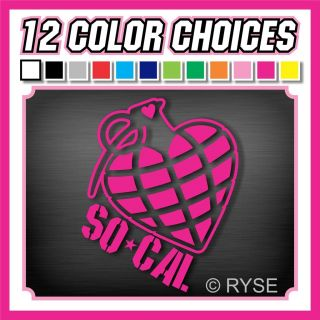 SoCal Heart Grenade Decal So Cal Girl Cute Truck Car Race JDM