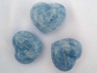 Blue Calcite Heart 2 Crystal Healing Blue Gem Heart