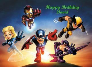 Wolverine Captain America Thor Edible Cake Image Topper