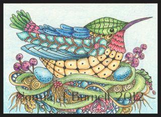 ACEO Original Hummingbird Sketch Card Mother Hummingbirds Zentangle by