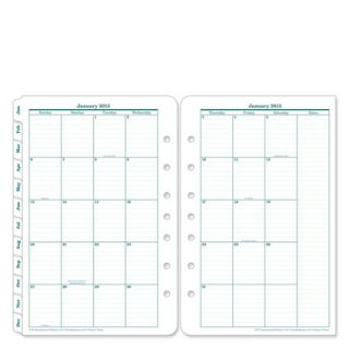Classic Original Two Page Monthly Calendar Tabs Jan 2013 Dec 2