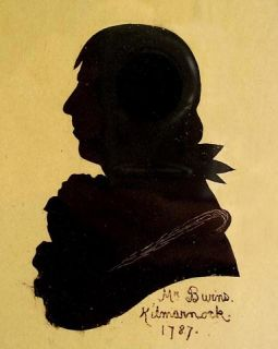 Robert Burns Antique Silhouette Painting on Reverse Glass Birds Eye