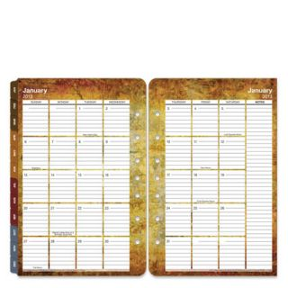 Classic Textures Ring bound Two Page Monthly Calendar Tabs   Jan 2