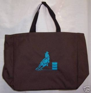 Personalized Barrel Racing Racer Brown Tote Bag Horse Rodeo Western