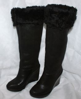 295 New Michael Kors Boots Calista Suede Fur Sherling Tall Wedge High