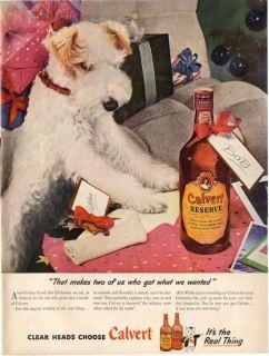 1945 Calvert Reserve Whiskey Terrier Dog Vintage Bottle PRINT AD