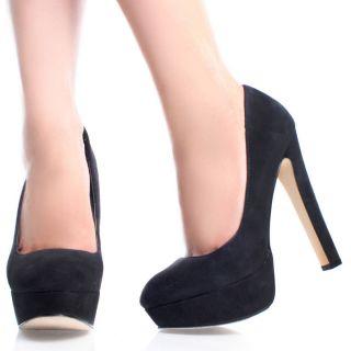 Black Suede Round Toe Dance Dress Pumps Women High Heel Platform Shoes