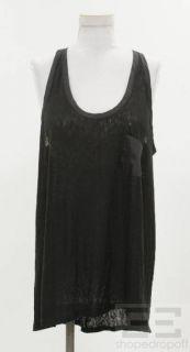 By Malene Birger Black Jersey & Satin Trim Pocket Tank Top Size XL