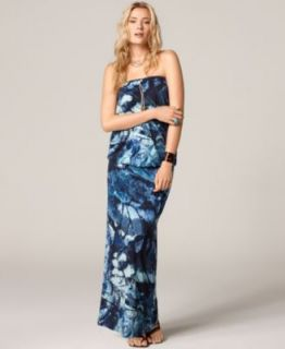 Calvin Klein New Navy Prined Full Lengh Srapless Sundress Peies