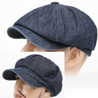Newsboy Driving Beret Cabbie Flat Cap Hat JTN Navy BLUE Denim Jean