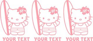 Qty 3 Hello Kitty Surf Custom Text Vinyl Sticker Decal