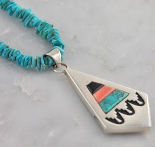 Alvin Begay Silver Multi Color Reversible Chip Necklace