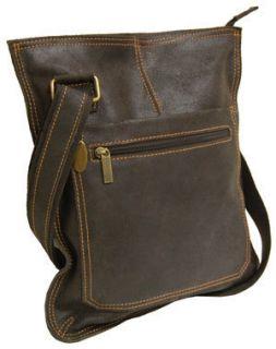 David King Handbags Distressed Leather Crossbody Bag Purse 6389 Brown