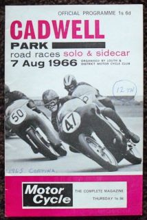 Cadwell Park Solo Sidecar Motorcycle Road Race Programme 7 Aug 1966