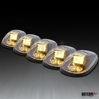 5X Amber LED Cab Roof Top Marker Running Lights Truck SUV 4x4 Clear