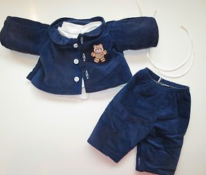 Cabbage Patch Doll Clothes Navy Cord Jacket Bear Applique Pants Logo