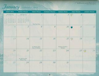 Scenic Hawaiian Islands Sunset Beach Waterfall Wall Calendar