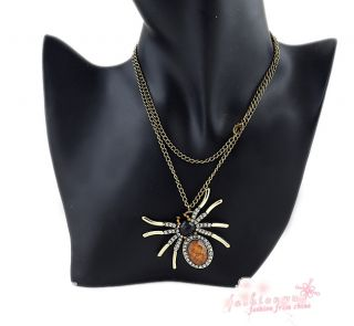 New Style Vintage Chic Rhinestone Full Crystal Spider Necklace Pendant