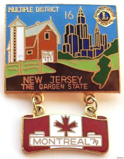 Club Pin Red New Jersey MD 16 Montreal 1979 Farm Canadian Flag Lapel