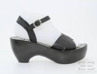 Calleen Cordero Black Leather Juana Wooden Platform Sandals Size 7 5