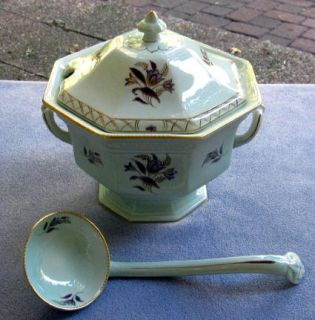 Huge Adams Calyx Ware Hand Painted Regent Soup Tureen Ladle England