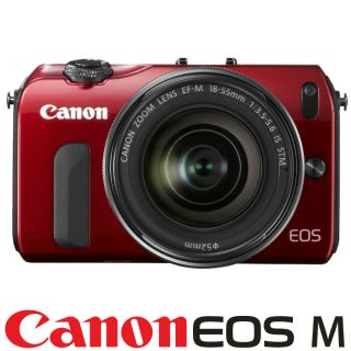 New Canon EOS M Camera Red EF M 18 55mm Is STM Mount Adapter 90EX Kit