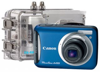description canon a495 blue digital camera underwater housing all