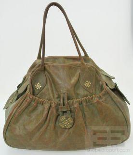 Calleen Cordero Sage Green and Brown Leather Pocket Tote Handbag