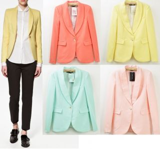 New Womens European Fall Fashion Candy Color One Button Suit Blazer 4
