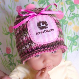 John Deere Baby Girl Pink Camo Hat True Pink Camouflage Color