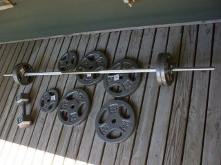 Hole Weight Lifting Bar, Cap Plates, and Dumbbell Lots