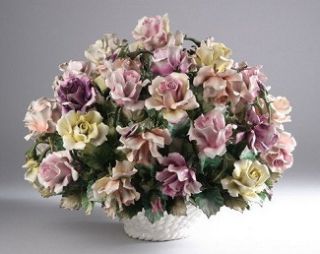 Capodimonte Large Flower Basket 10 Roses & Poppy Blue Crown N Marked