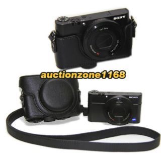 Camera Leather Case Bag Pouch Strap for Sony RX 100 RX100 Black Color