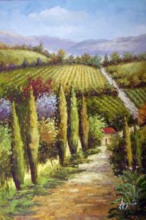 California Wine Country Landscape Oil Canvas Painting
