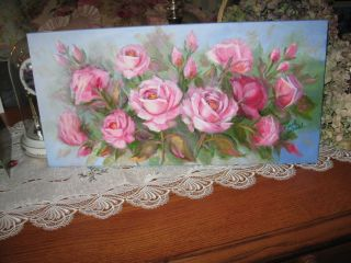 ORIGINAL OIL PAINTING PINK DEWALD SHABBY ROSES CHIC  ART